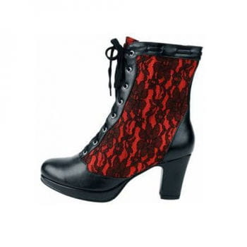 Inamagura Half Boots Black and Red Lace