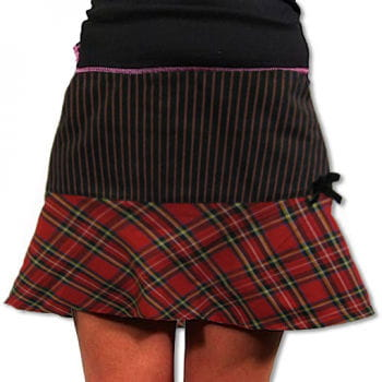 Plaid mini skirt red