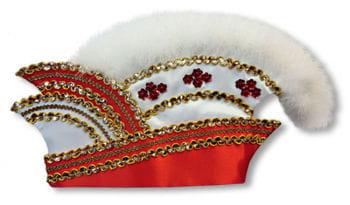 Komiteemütze rot-weiß mit Marabubesatz