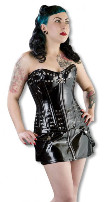 Vinyl Corset with rivets and skull