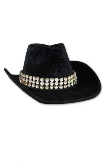Lady black velvet hat with rhinestone