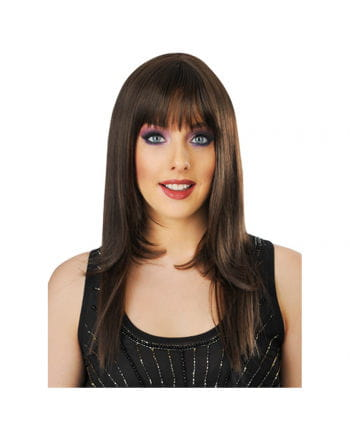 dark brown longhair wig with bangs
