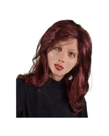 Woman latex mask with long hair wig
