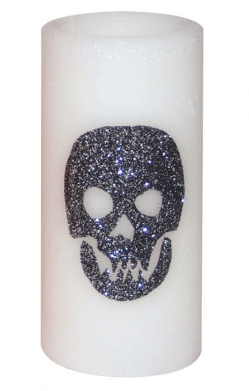 LED Candle White with Glittering Skull
