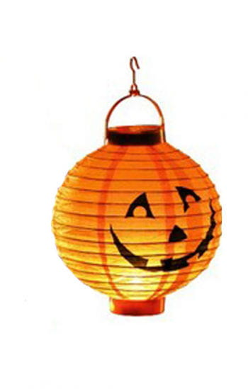 LED Paper Lantern with Pumpkin Motif