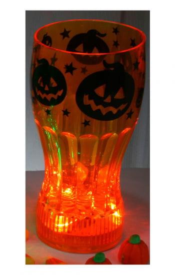 Leuchtendes Halloween Trinkglas Kürbis