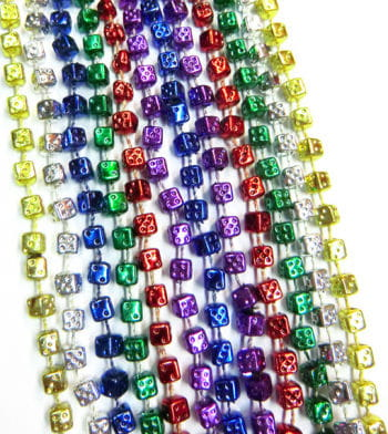 Mardi Gras Beads Dice 6 PCS