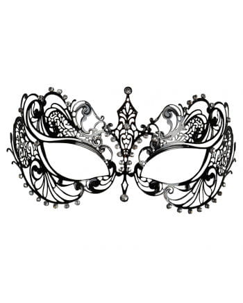 Intricate metal eye mask with black rhinestones