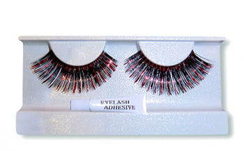 Metallic Real Hair Eyelashes Black Red