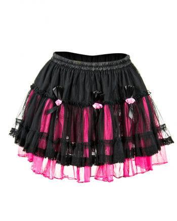 Tüll Minirock mit Rosen schwarz-pink