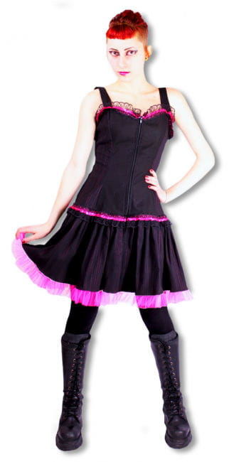 Pinstripe dress black and pink