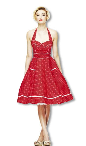 Halter polka dot dress red