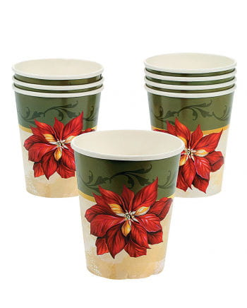 Paper cups with poinsettia motif