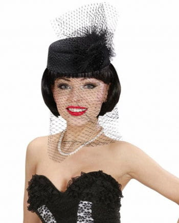 Pillbox hat Jackie black feathers