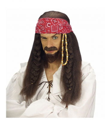 Pirate Wig Sparcrow incl. Bart