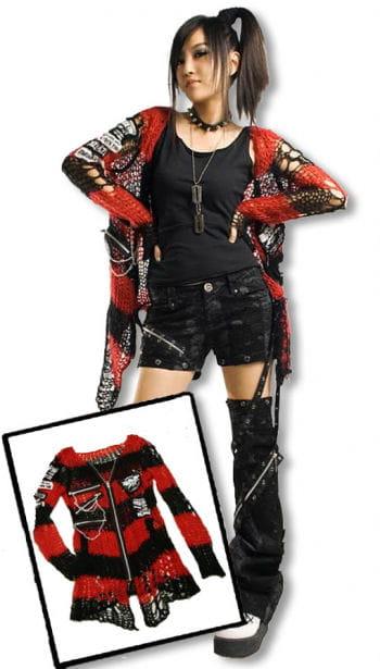 Punk Strickjacke rot schwarz One Size