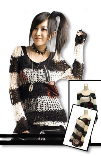 Punk Strickpullover schwarz-weiß One Size