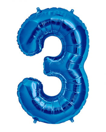 Foil Balloon Number 3 blue