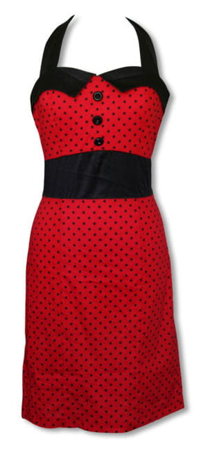 Rockabilly dress with pencil skirt red-black