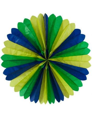 Rosettenfächer blau/gelb/grün 60cm