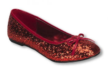 Rote Glitzer Ballerinas 40 UK 8 US 10
