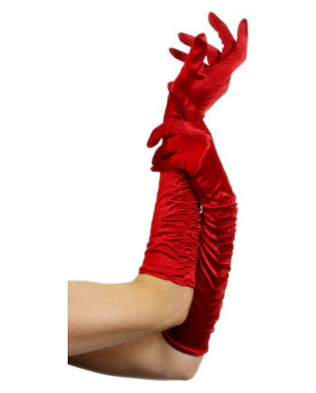 Elbow length gloves red