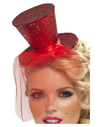 Red Mini Top Hat with Hair Combs