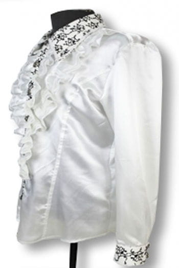 Elegant ruffled shirt White