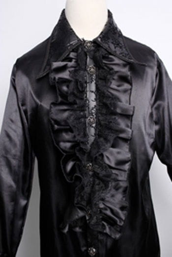 Satin shirt with ruffles black L