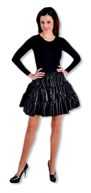 Satin Ruched Skirt Black
