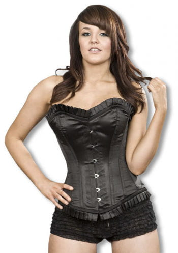 Satin Overbust Corset with Ruffles