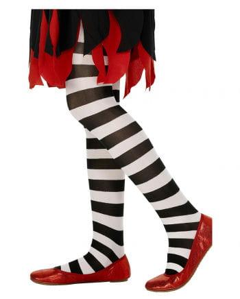 Striped Children tights black and white