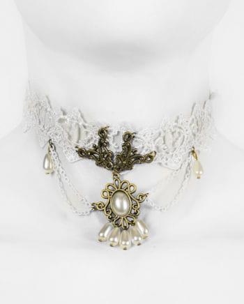 Viktorianische Halskette mit Spitze und Schmuckstein weiß