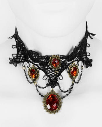 Victorian necklace with red gemstones