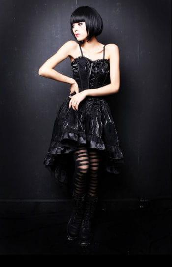 Schwarzes Seidenkleid mit Flockdruck