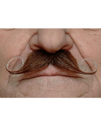 heather Adhesive handlebar mustache brown