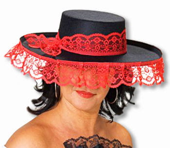 Senorita Hat Black Red