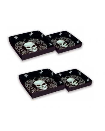 Servierplatten mit Totenkopf Motiv 4-Set