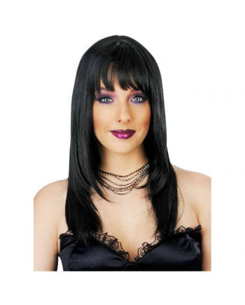 Long-haired wig with bangs black