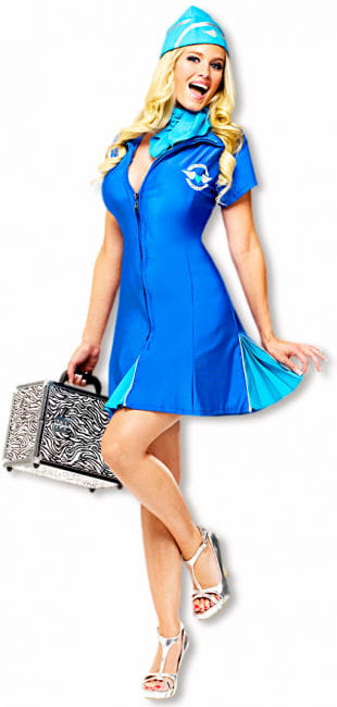 Sexy Stewardess Costume Blue S/M 36-38