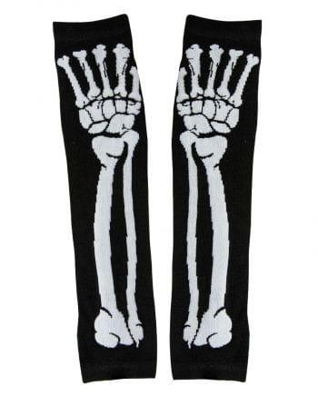 Fingerless Gloves with skeletal motif