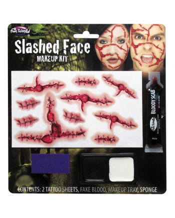 Slashed Face Makeup Set with tattoos