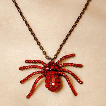 Spinnen Halskette mit rotem Strass