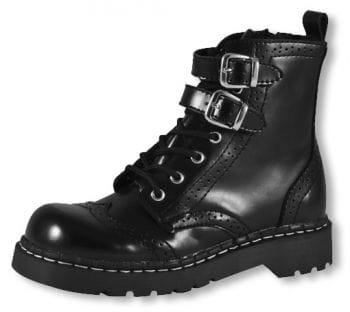 Springer Stiefel mit Lochmuster schwarz