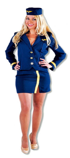Stewardess Costume Navy Blue XL
