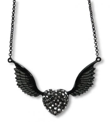 Rhinestone Necklace with winged Heart