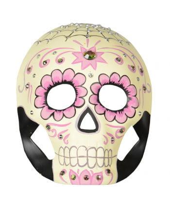 Day of the Dead Maske mit Blumen und Strasssteinen
