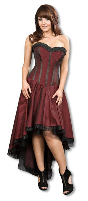 Burgundy Gothic Taffeta Dress S