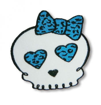 Totenkopf Aufnäher Leopard blau