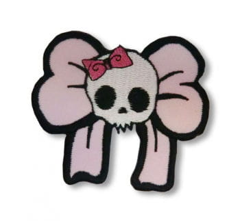 Skull patch with pink bow